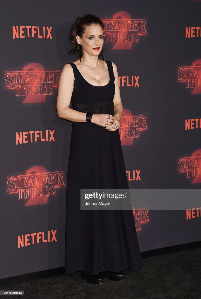 Actress Winona Ryder arrives at the Premiere Of Netflix's 'Stranger Things' Season 2 at Regency Westwood Village Theatre on October 26, 2017 in Los Angeles, California.