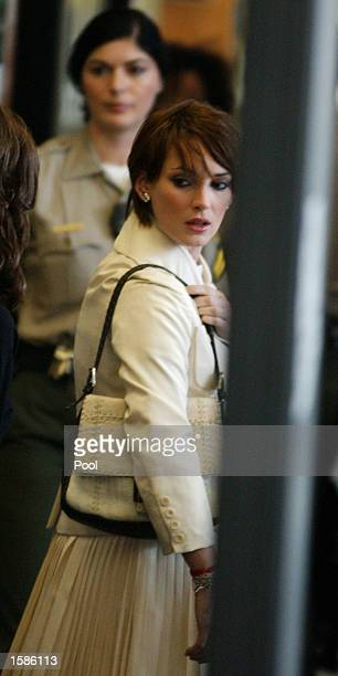 Actress Winona Ryder arrives for the morning session on the sixth day of her shoplifting trial at the Beverly Hill Municipal Court on November 4 2002...