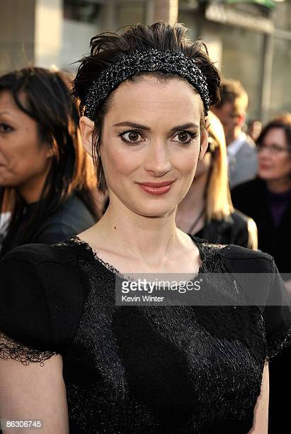 Actress Winona Ryder arrives on the red carpet of the Los Angeles premiere of 'Star Trek' at the Grauman's Chinese Theatre on April 30 2009 in...