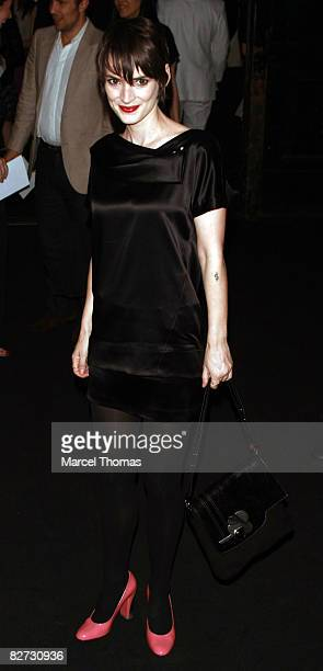 Actress Winona Ryder attends the Marc Jacobs Spring 2009 fashion show during Mercedes-Benz Fashion Week at the NY State Armory on September 8, 2008...