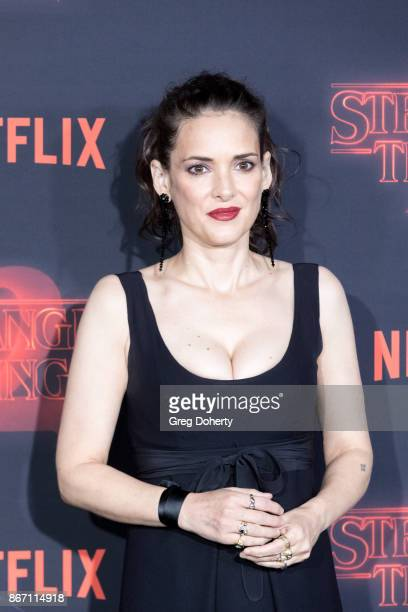 Actress Winona Ryder attends the Premiere Of Netflix's 'Stranger Things' Season 2 at the Regency Bruin Theatre on October 26 2017 in Los Angeles...