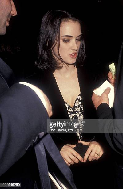 Actress Winona Ryder attends the Sixth Annual American Cinematheque Award Salute to Martin Scorsese on March 22 1991 at Century Plaza Hotel in Los...