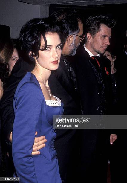 """Actress Winona Ryder, director Francis Ford Coppola and actor Gary Oldman attend the """"Dracula"""" Hollywood Premiere on November 10, 1992 at Mann's..."""