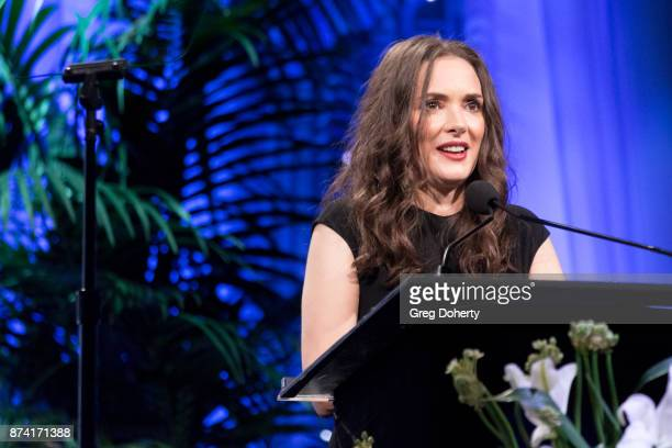 Actress Winona Ryder introduces Honoree Ted Sarandos at the Saban Community Clinic's 50th Anniversary Dinner Gala at The Beverly Hilton Hotel on...