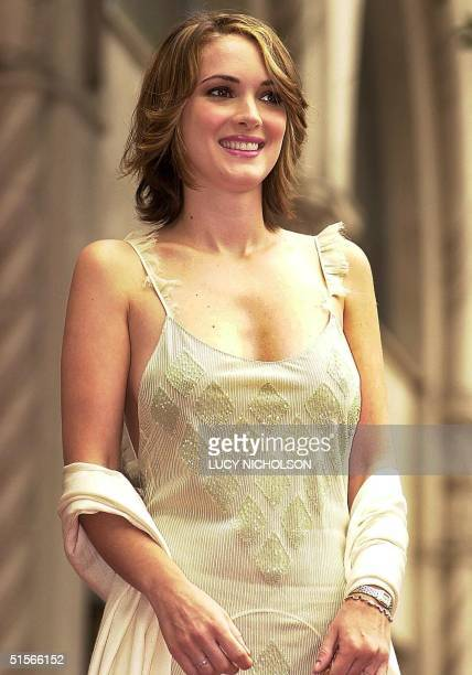 US actress Winona Ryder looks at fans after a star was unveiled for her on the Hollywood Walk of Fame in Hollywood California 06 October 2000 AFP...