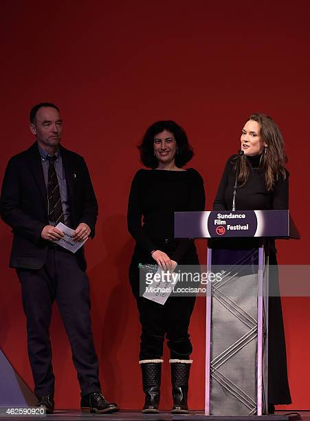 Actress Winona Ryder speaks onstage at the Awards Night Ceremony during the 2015 Sundance Film Festival at the Basin Recreation Field House on...