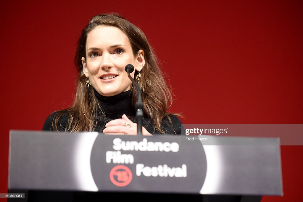 Actress Winona Ryder speaks onstage at the Awards Night Ceremony during the 2015 Sundance Film Festival at the Basin Recreation Field House on January 31, 2015 in Park City, Utah.