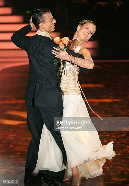 Actress Wolke Hegenbarth and dancer Oliver Seefeld perform at the dancing competition show on TV station RTL with German celebrities and professional...