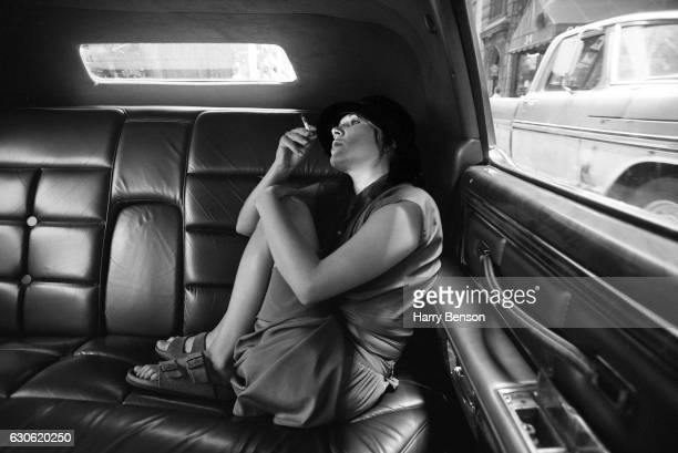 Actress writer Carrie Fisher photographed in the back of a limo in 1978 in New York City