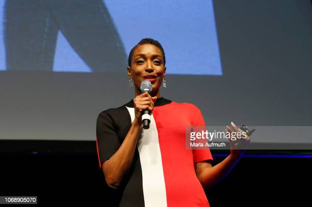"""Actress, writer, producer, director and influencer Franchesca """"Chescaleigh"""" Ramsey speaks on stage during 2018 Massachusetts Conference For Women -..."""