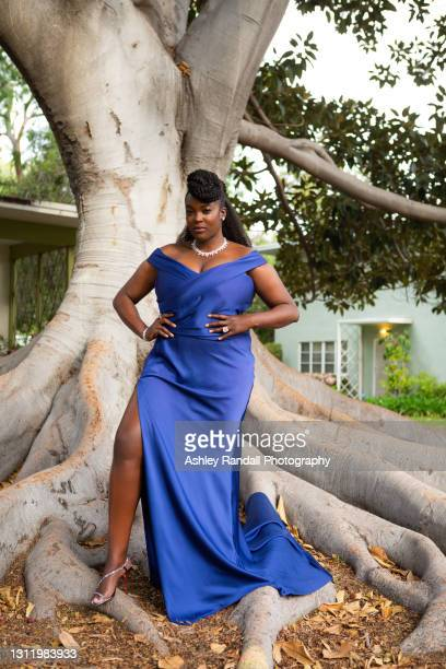 "Actress Wunmi Mosaku nominated for best actress in a leading role for ""His House"" poses in her award show look for the EE British Academy Film Awards..."
