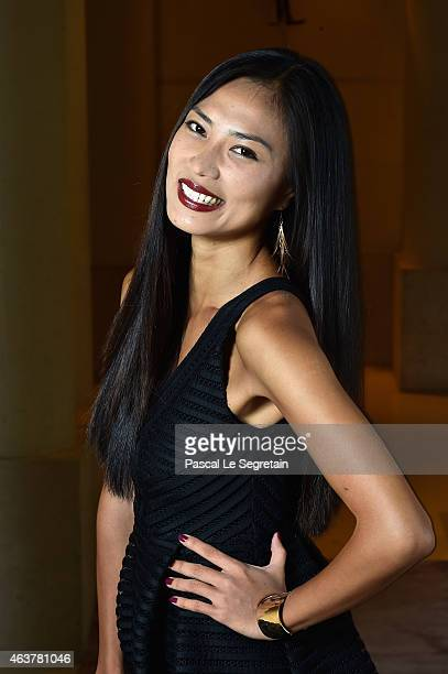 Actress Xin Wang poses for a portrait session at Hotel Park Hyatt Paris Vendome prior to the 'ExModel' Web Serie press presentation on February 18...