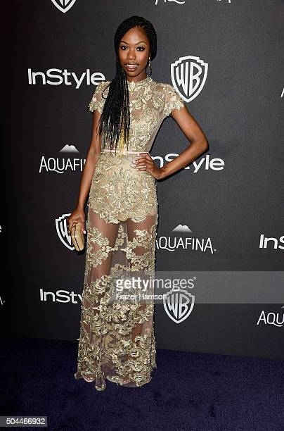 Actress Xosha Roquemore attends InStyle and Warner Bros 73rd Annual Golden Globe Awards PostParty at The Beverly Hilton Hotel on January 10 2016 in...