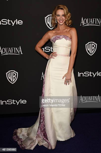 Actress Yael Grobglas attends the 2015 InStyle And Warner Bros 72nd Annual Golden Globe Awards PostParty at The Beverly Hilton Hotel on January 11...