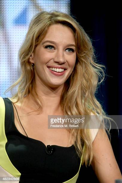 Actress Yael Grobglas speaks onstage at the Jane The Virgin panel during the CW Network portion of the 2014 Summer Television Critics Association at...
