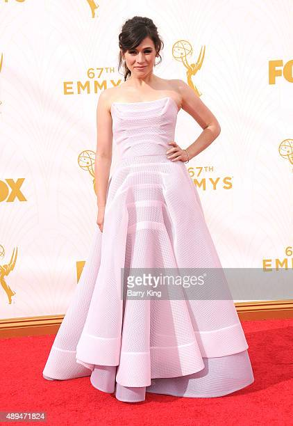 Actress Yael Stone arrives at the 67th Annual Primetime Emmy Awards at the Microsoft Theater on September 20 2015 in Los Angeles California