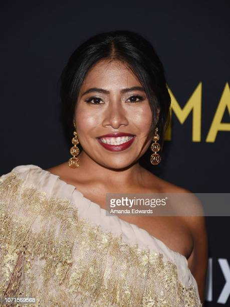 Actress Yalitza Aparicio arrives at the Los Angeles Premiere of Alfonso Cuaron's Roma at American Cinematheque's Egyptian Theatre on December 10 2018...