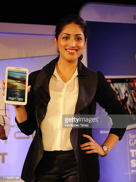 Actress Yami Gautam at the launch of Samsung Galaxy Tab 3 range of Android tablets on July 18 2013 in New Delhi India The Galaxy Tab 3 boasts of an...