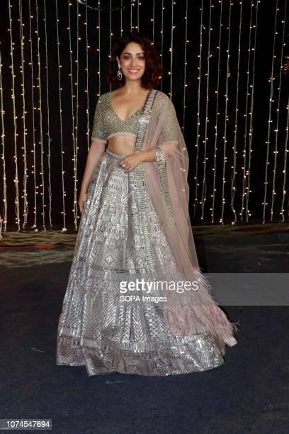 Actress Yami Gautam seen at PriyankaNicks wedding reception at hotel Taj Lands End in Mumbai The newlymarried couple Priyanka Chopra and Nick Jonas...