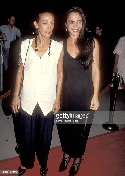 Actress Yancy Butler and stepmother Kim Butler attend the 'Hard Target' Beverly Hills Premiere on August 18 1993 at Academy Theatre in Beverly Hills...