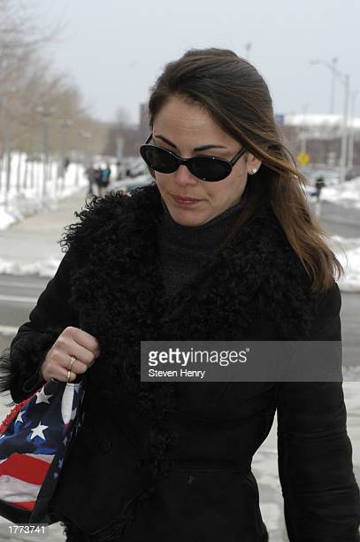 Actress Yancy Butler arrives at the Suffolk County Court Complex February 10 2003 in Central Islip New York Butler faces charges for assaulting her...
