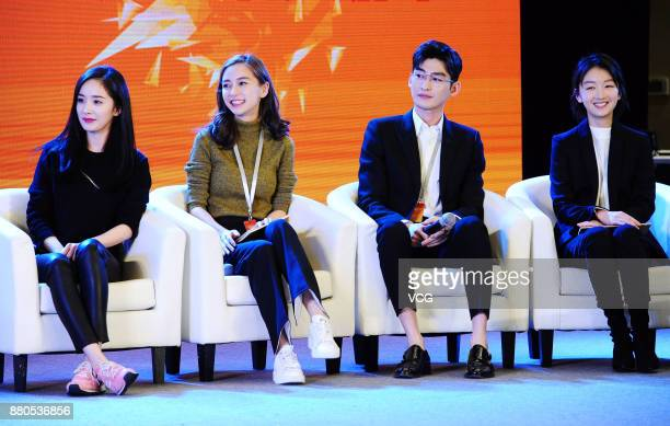 Actress Yang Mi actress Angelababy actor Zhang Han and actress Zhou Dongyu attend the 3rd China Film New Power Forum 2017 on November 27 2017 in...