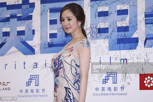Actress Yang Mi arrives at the red carpet of 2016 China Britain Film Festival on December 12 2016 in Langfang Hebei Province of China