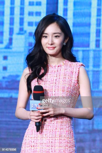 Actress Yang Mi attends a press conference of TV series 'Negotiator' on February 3 2018 in Beijing China