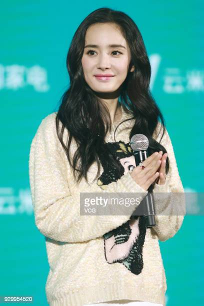 Actress Yang Mi attends a promotional event during the Appliance and Electronics World Expo 2018 on March 9 2018 in Shanghai China