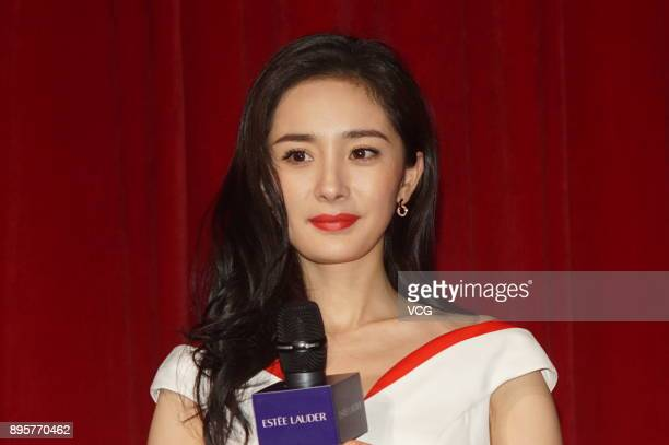 Actress Yang Mi attends a promotional event for Estee Lauder on December 19 2017 in Shanghai China