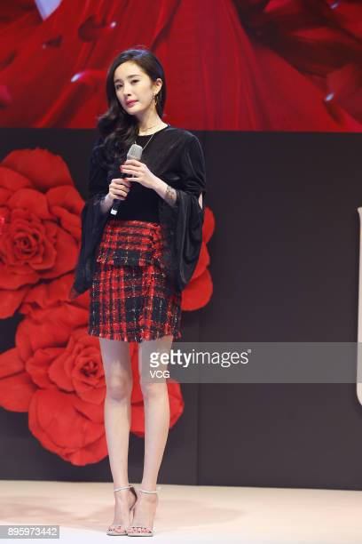 Actress Yang Mi attends Downy's new product release conference on December 20 2017 in Beijing China