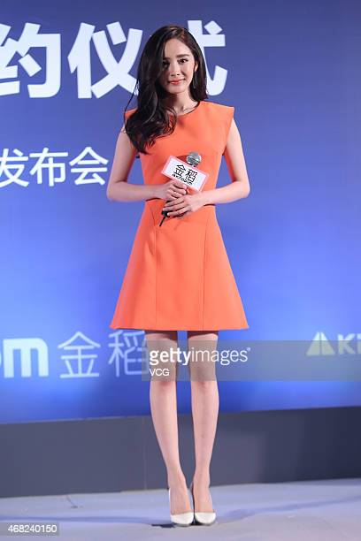 Actress Yang Mi attends KingGdom activity on March 31 2015 in Beijing China