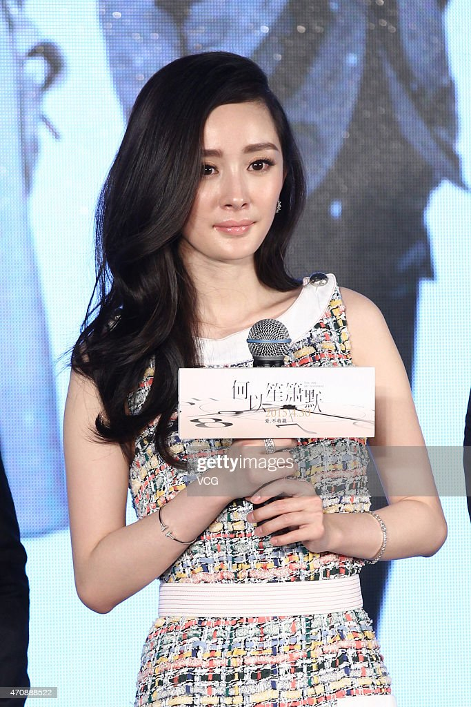 Actress Yang Mi attends premiere press conference of director Huang Bin's new film 'Silence Seperation' on April 23, 2015 in Beijing, China.