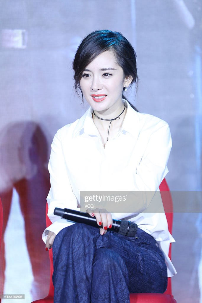 Actress Yang Mi attends press conference of a variety show 'Takes a Real Man' on October 18, 2016 in Changsha, Hunan Province of China.