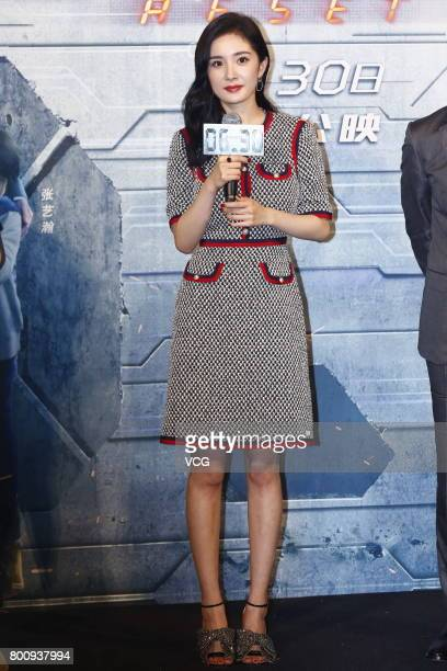 Actress Yang Mi attends the premiere of South Korean director Chang Yoon Hongseung's film 'Reset' on June 25 2017 in Beijing China