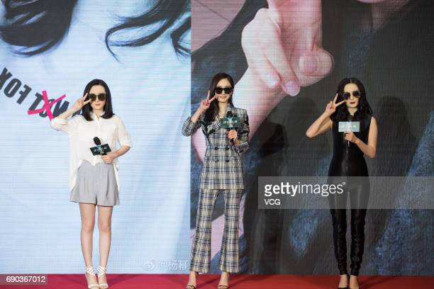 Actress Yang Mi attends the press conference of director Chang Yoon Hongseung's film 'Reset' on May 30 2017 in Beijing China