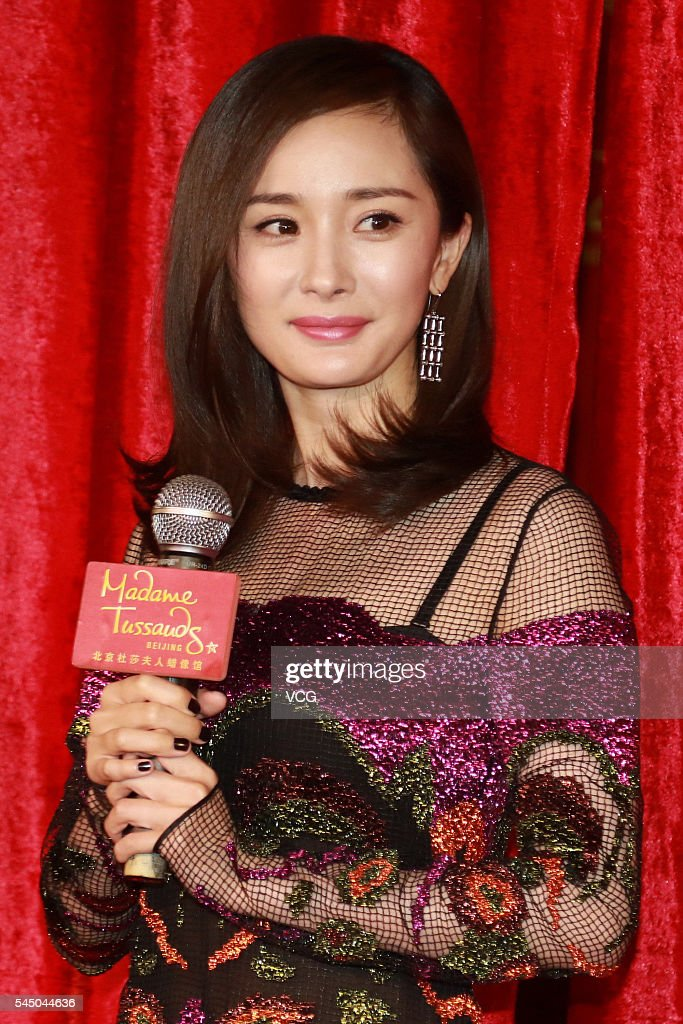 Actress Yang Mi attends the unveiling ceremony of her wax figure at Beijing Madame Tussauds Wax Museum on July 5, 2016 in Beijing, China.