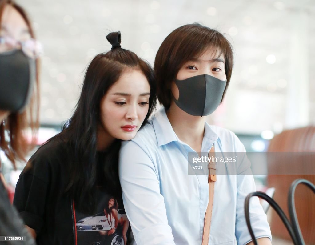 Actress Yang Mi (L) is seen at Beijing Capital International Airport on July 17, 2017 in Beijing, China.