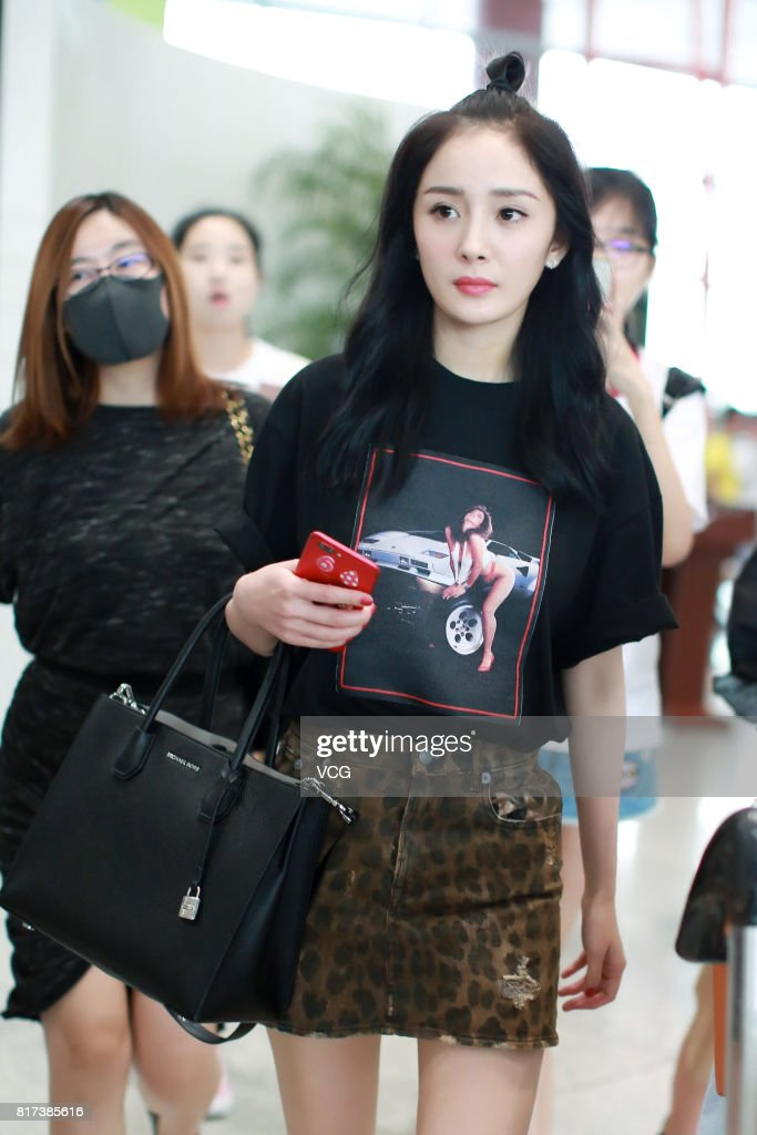 Actress Yang Mi is seen at Beijing Capital International Airport on July 17, 2017 in Beijing, China.