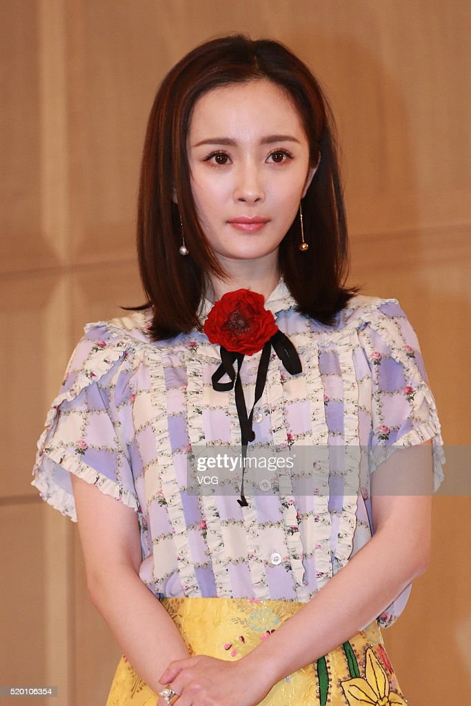 Actress Yang Mi promotes luxury brand Aspinal of London on April 9, 2016 in Beijing, China.
