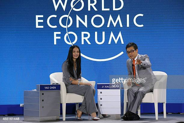 Actress Yao Chen attends a meeting during the 2014 Summer Davos forum at Meijiang Convention and Exhibition Center on September 10 2014 in Tianjin...