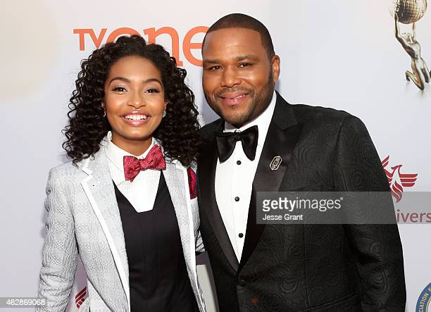 Actress Yara Shahidi and host Anthony Anderson attend the 46th NAACP Image Awards presented by TV One at Pasadena Civic Auditorium on February 6 2015...