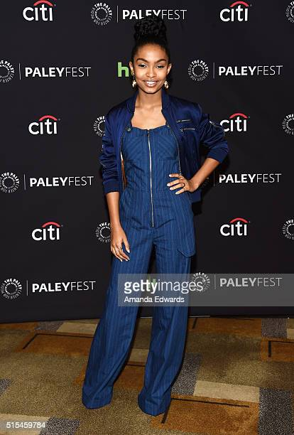 Actress Yara Shahidi arrives at The Paley Center For Media's 33rd Annual PaleyFest Los Angeles presentation of 'Blackish' at the Dolby Theatre on...