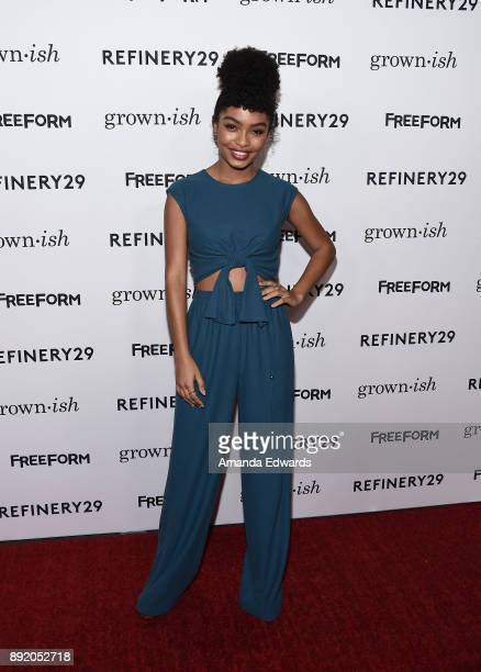 Actress Yara Shahidi arrives at the premiere of ABC's 'Grownish' on December 13 2017 in Hollywood California