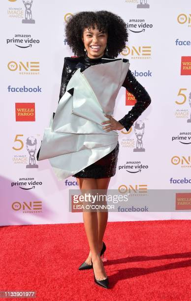US actress Yara Shahidi arrives for the 50th NAACP Image awards at the Dolby theatre on March 30 2019 in Los Angeles