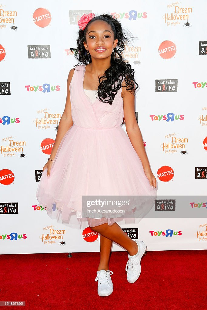 Actress Yara Shahidi attends the 2012 'Dream Halloween' presented by Keep A Child Alive at Barker Hangar on October 27, 2012 in Santa Monica, California.