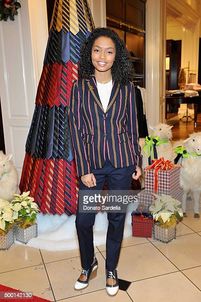 Actress Yara Shahidi attends the Brooks Brothers holiday party with St Jude Children's Research Hospital at Brooks Brothers on Rodeo Drive on...