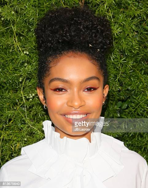 Actress Yara Shahidi attends the Chanel dinner celebrating Lucia Pica and the Travel Diary Makeup Collection at Capo on July 12 2017 in Santa Monica...