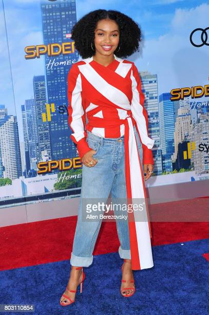 Actress Yara Shahidi attends the premiere of Columbia Pictures' 'SpiderMan Homecoming' at TCL Chinese Theatre on June 28 2017 in Hollywood California