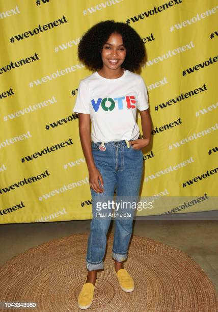 Actress Yara Shahidi attends the We Vote Next Summit event presented by Eighteen X 18 at TOMS Corporate Office on September 29, 2018 in Los Angeles,...